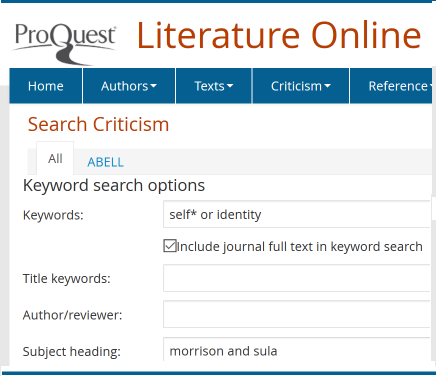 search for criticism in Literature Online