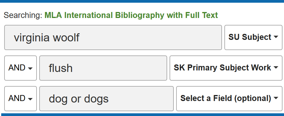 advanced search in MLA International Bibliography