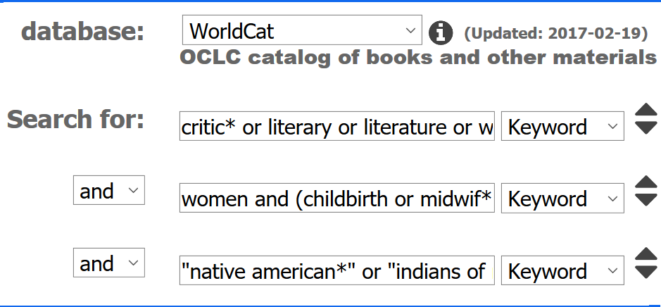 WorldCat advanced search