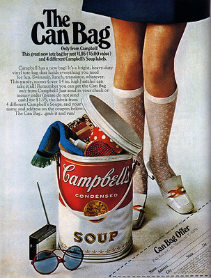 1968 magazine ad for Campbell's Soup tote promotion