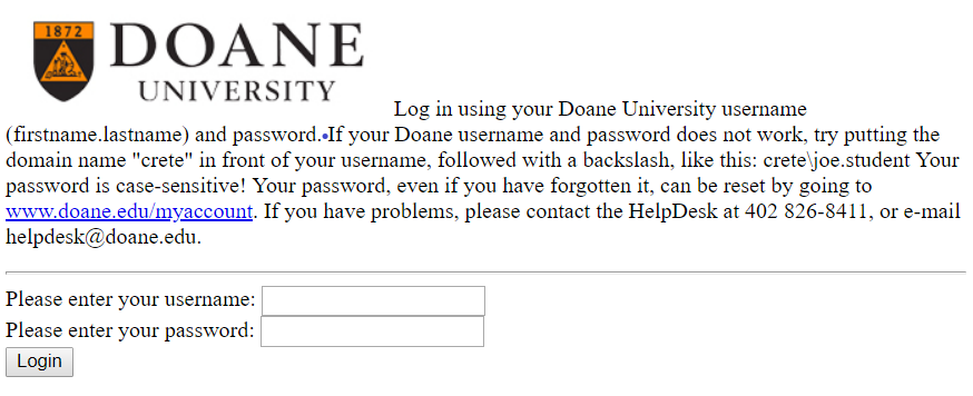 Doane library login page