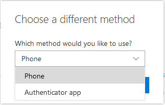 Choose a different method: phone or authenticator app