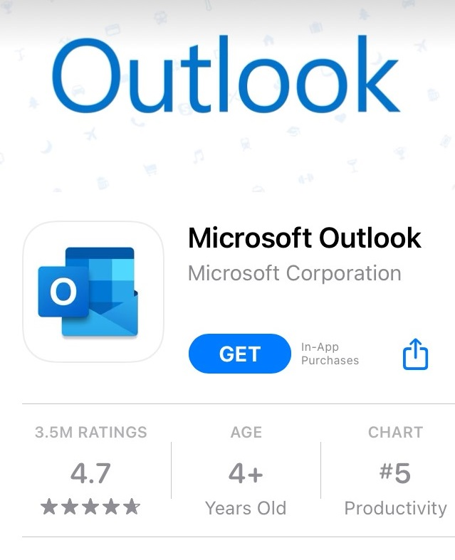 Install outlook app from app store