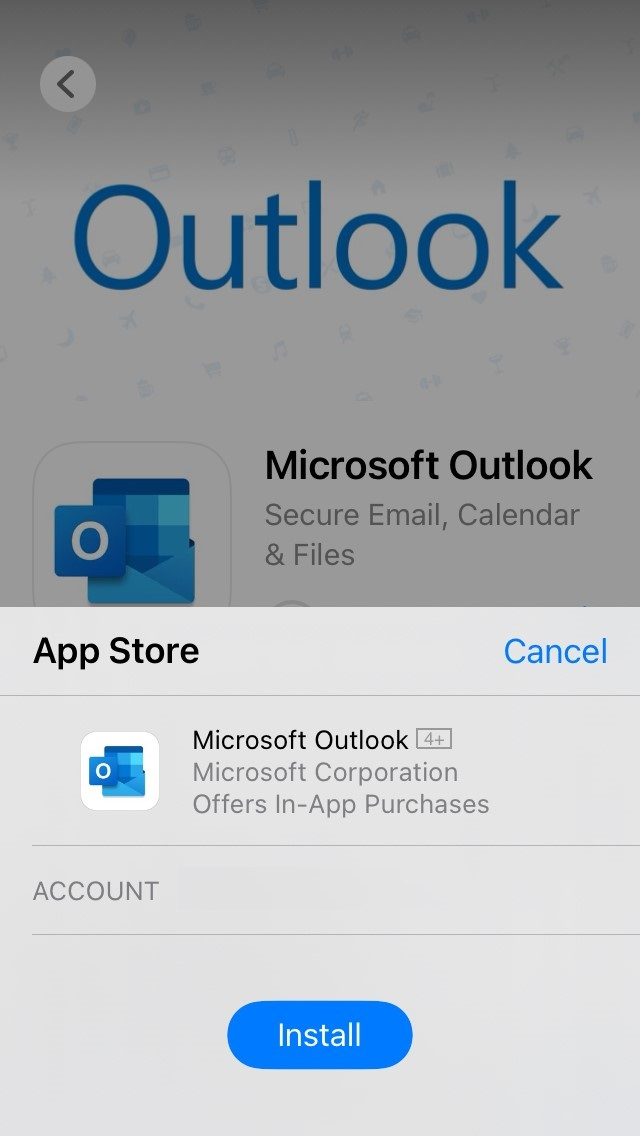Install button in app store