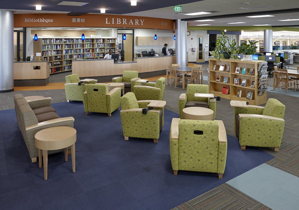 Truax Library seating and front desk