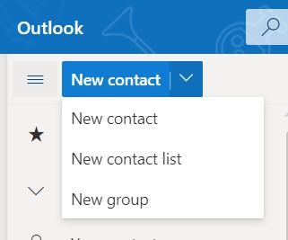 new contact dropdown