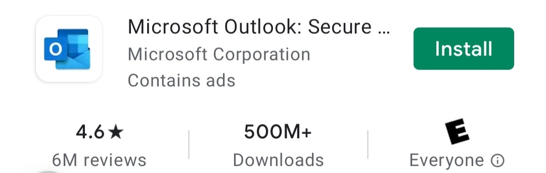 Microsoft Outlook in Google Play Store