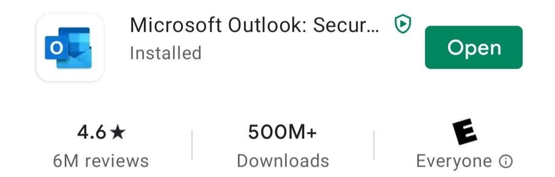 Open Outlook app from Google play store
