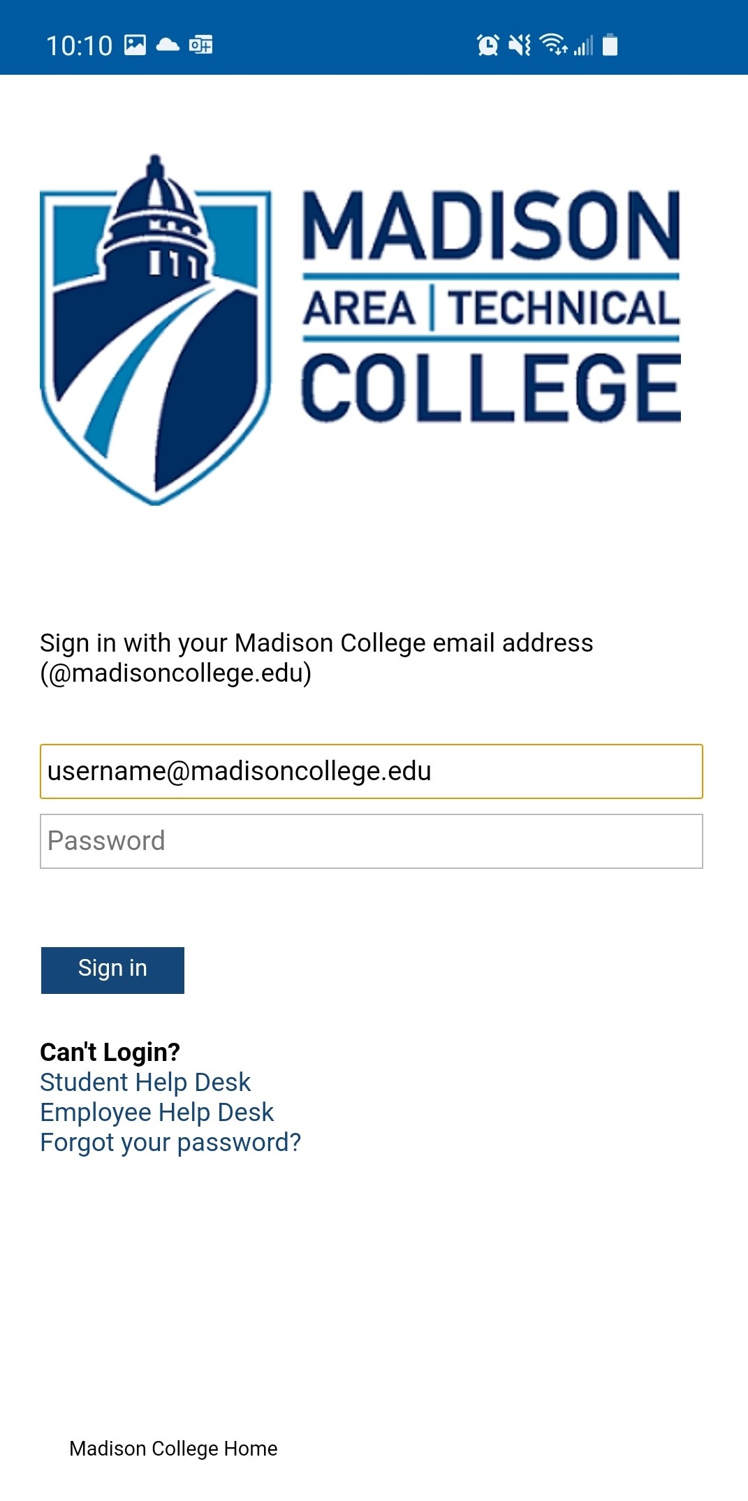 Sign in with MC email and password