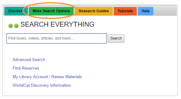 More search options tab