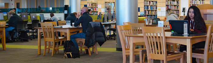 Students working in Truax Library