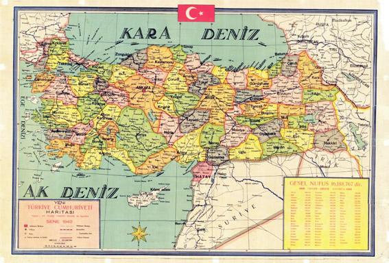 Map of Turkey, 1940
