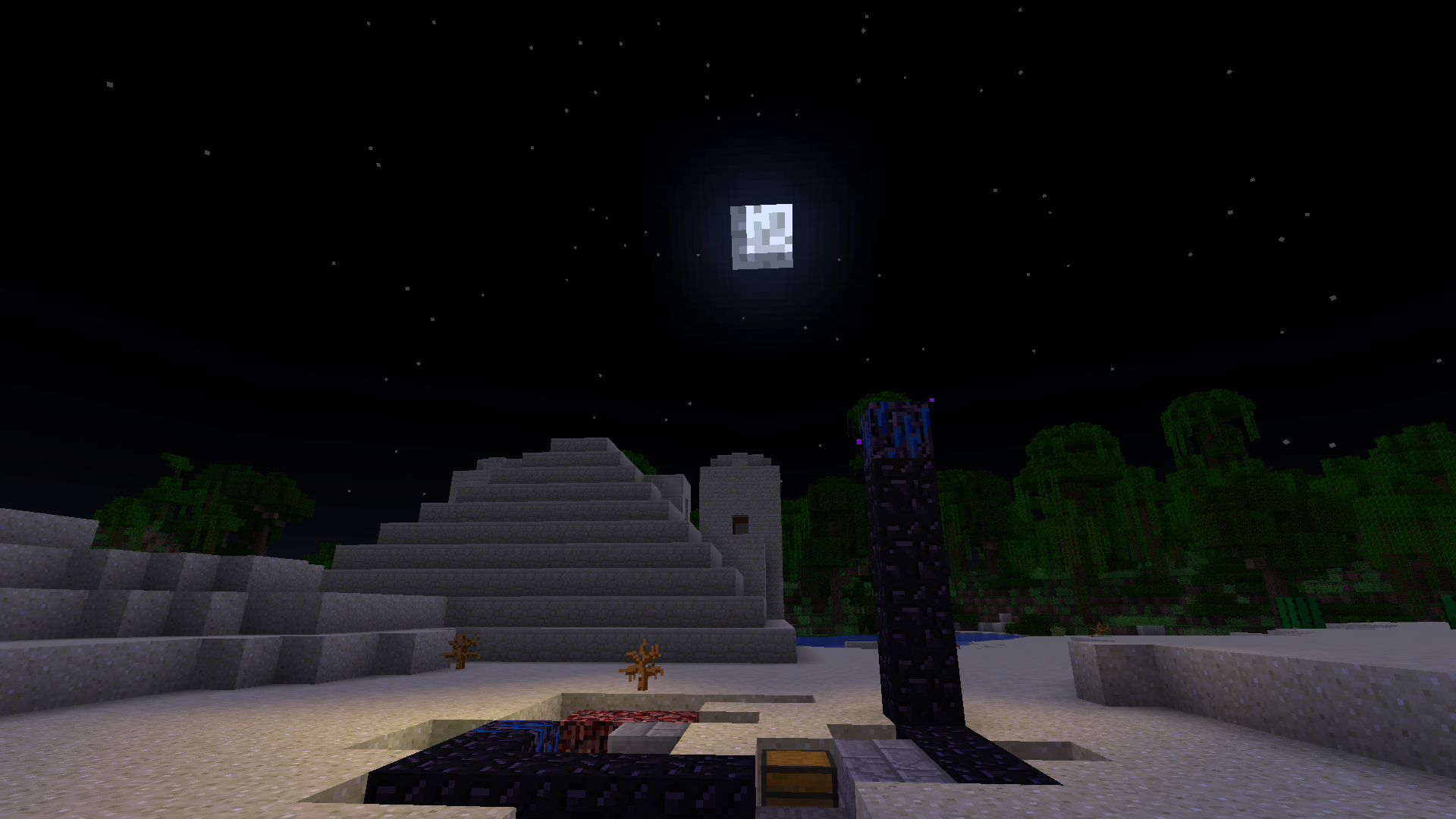 A Desert Temple at Night