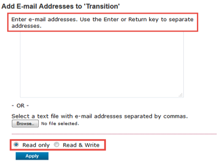 Add email addresses to 'Transition' box in EndNote Online