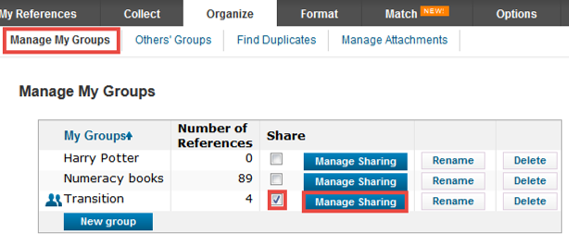 Manage my Groups function on Organize tab in EndNote Online