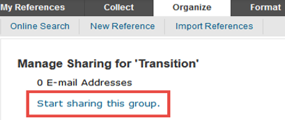 Start sharing this group button in EndNote Online