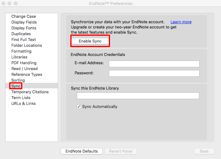 EndNote preferences box with Sync option selected