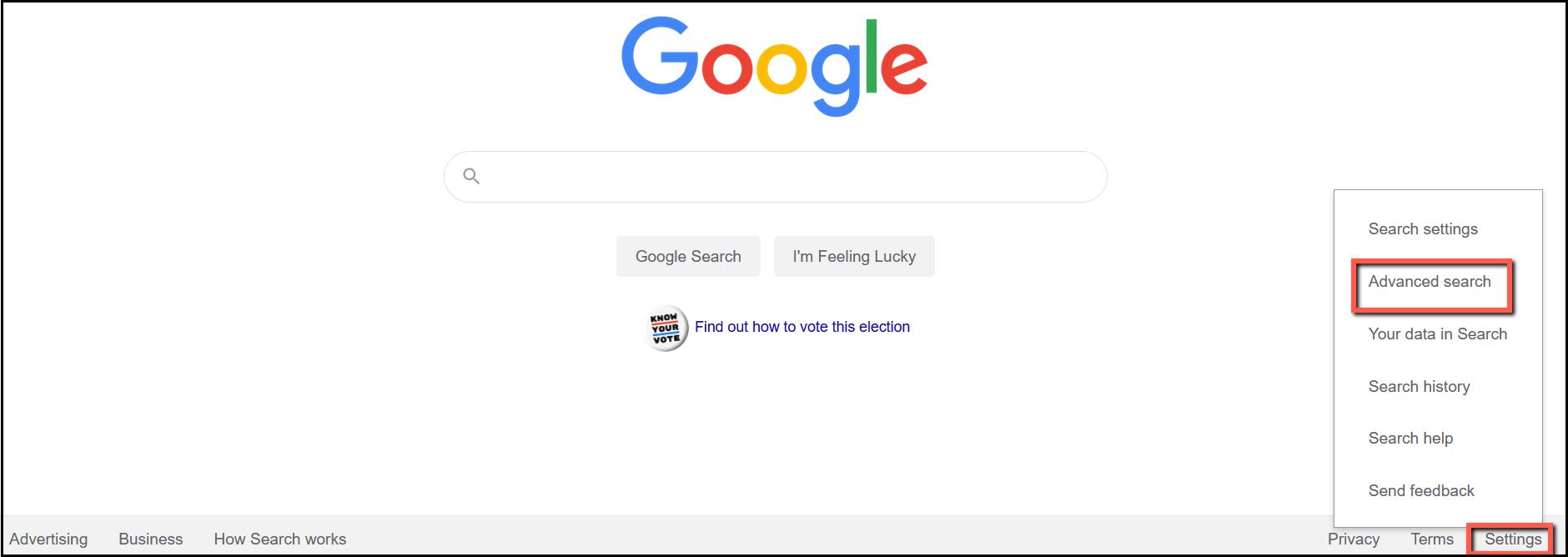 Use Google Settings to choose Advanced Search