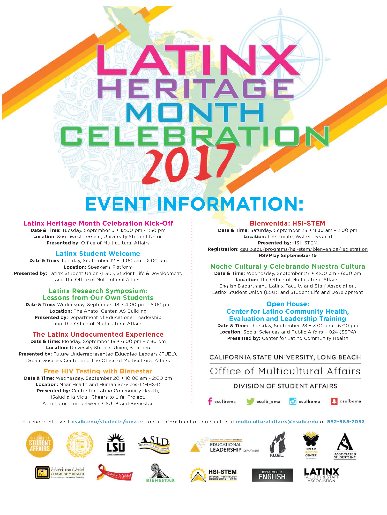 Latin X Heritage Month Activities Flyer