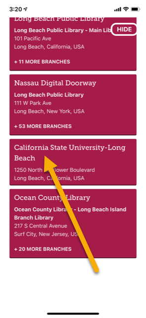 Libby app select a library screen