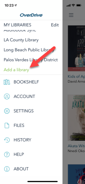overdrive home page arrow to add a library
