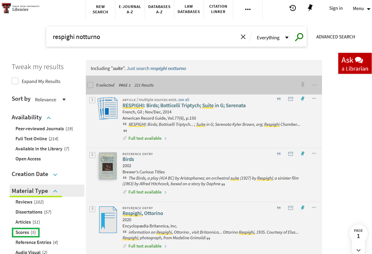 """Library catalog search for respighi notturno. Filter on left side for """"Scores"""" is highlighted."""