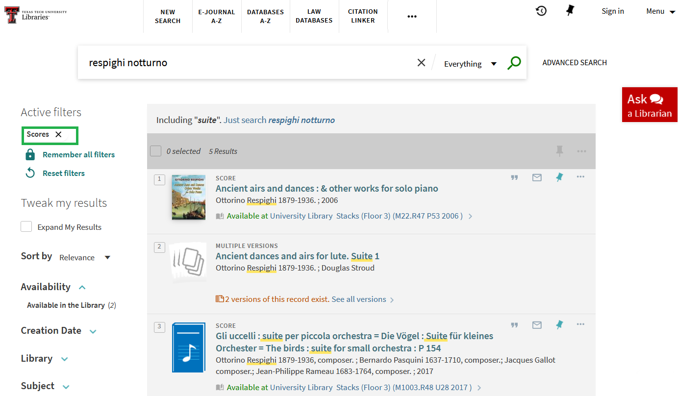 """Library catalog search for respighi notturno. Filter on left side for """"Scores"""" selected"""