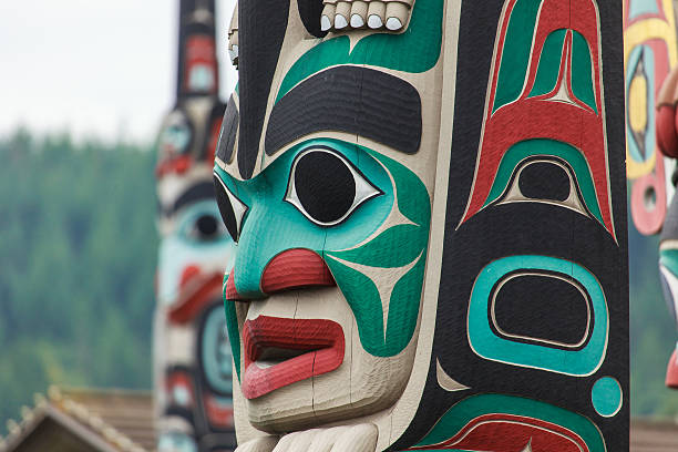 colorful totem pole faces