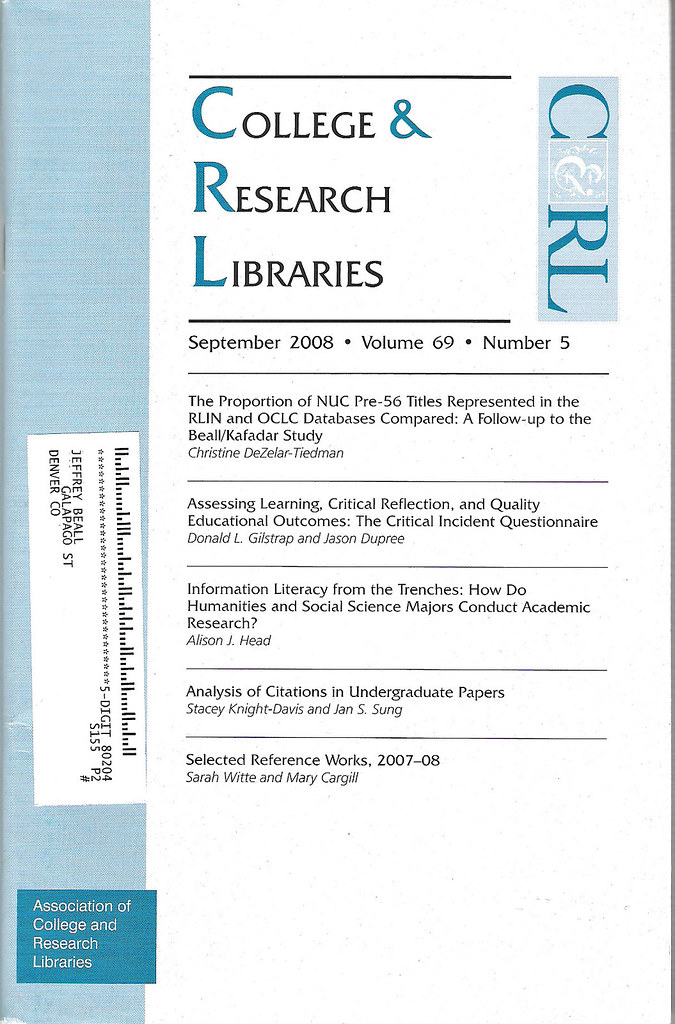 C&RL College & Research Libraries cover