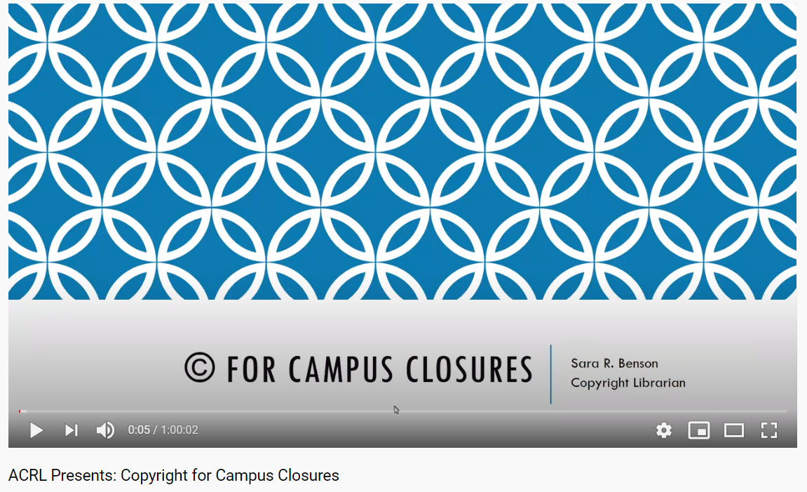 Copyright for Campus Closures ACRL title screen
