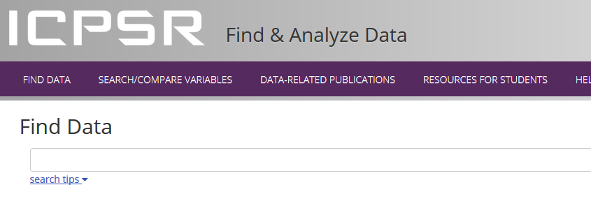 Screenshot of ICPSR find data