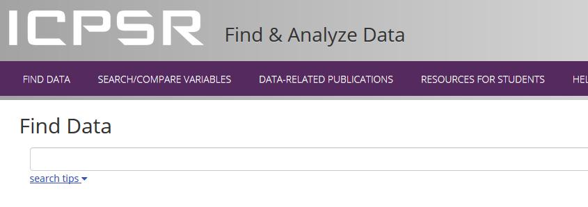 Screenshot of ICPSR find data
