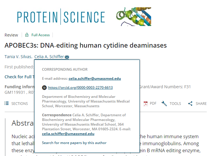 Example of journal article linking to an author's ORCID profile