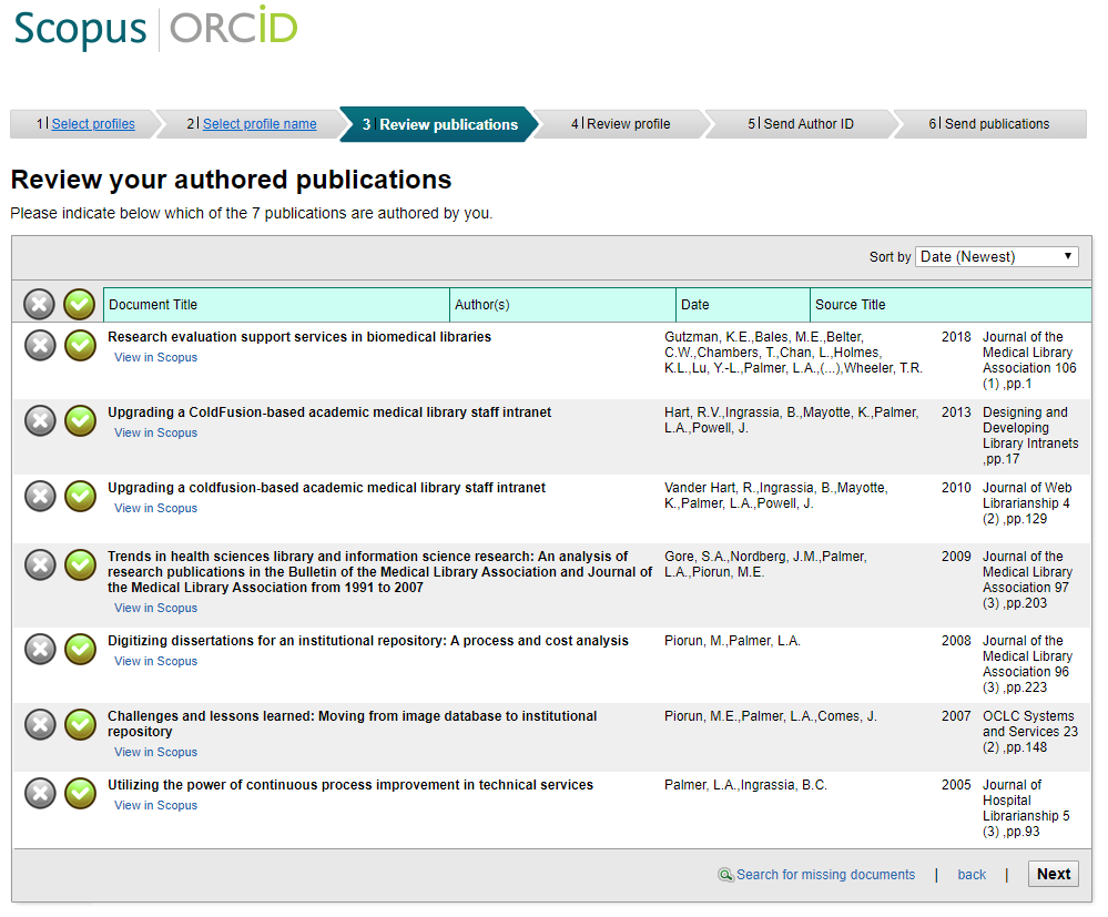 Scopus to ORCID - review your authored publications