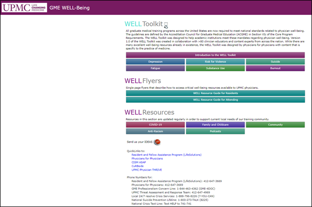 UPMC GME Well-Being