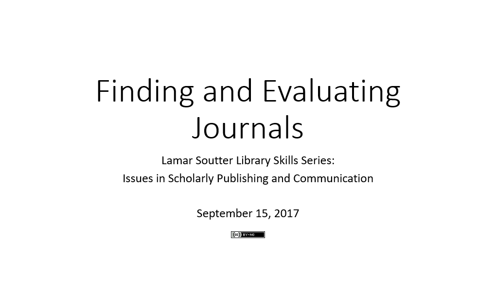 Finding and Evaluating Journals presentation