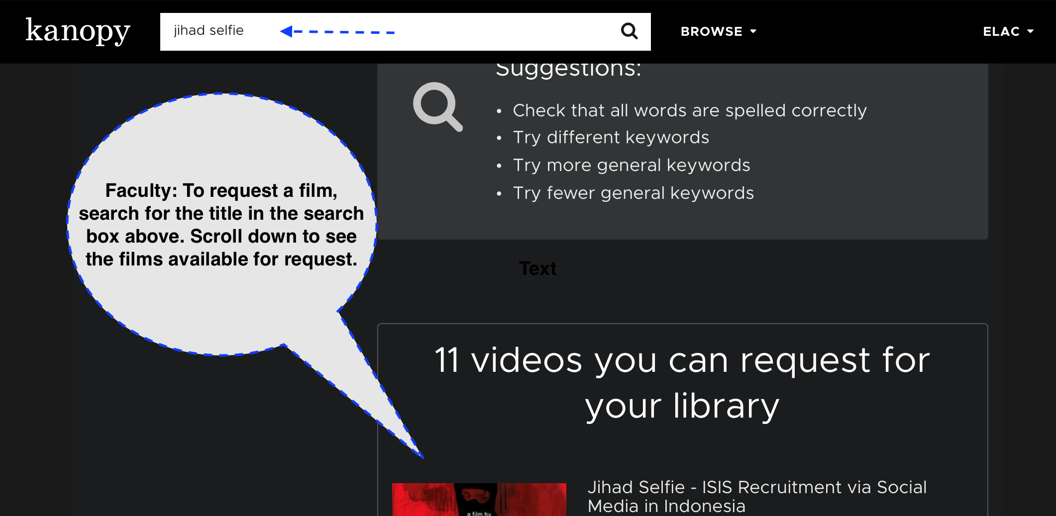 Screenshot of Kanopy login page instructing faculty to scroll down below results to request a film