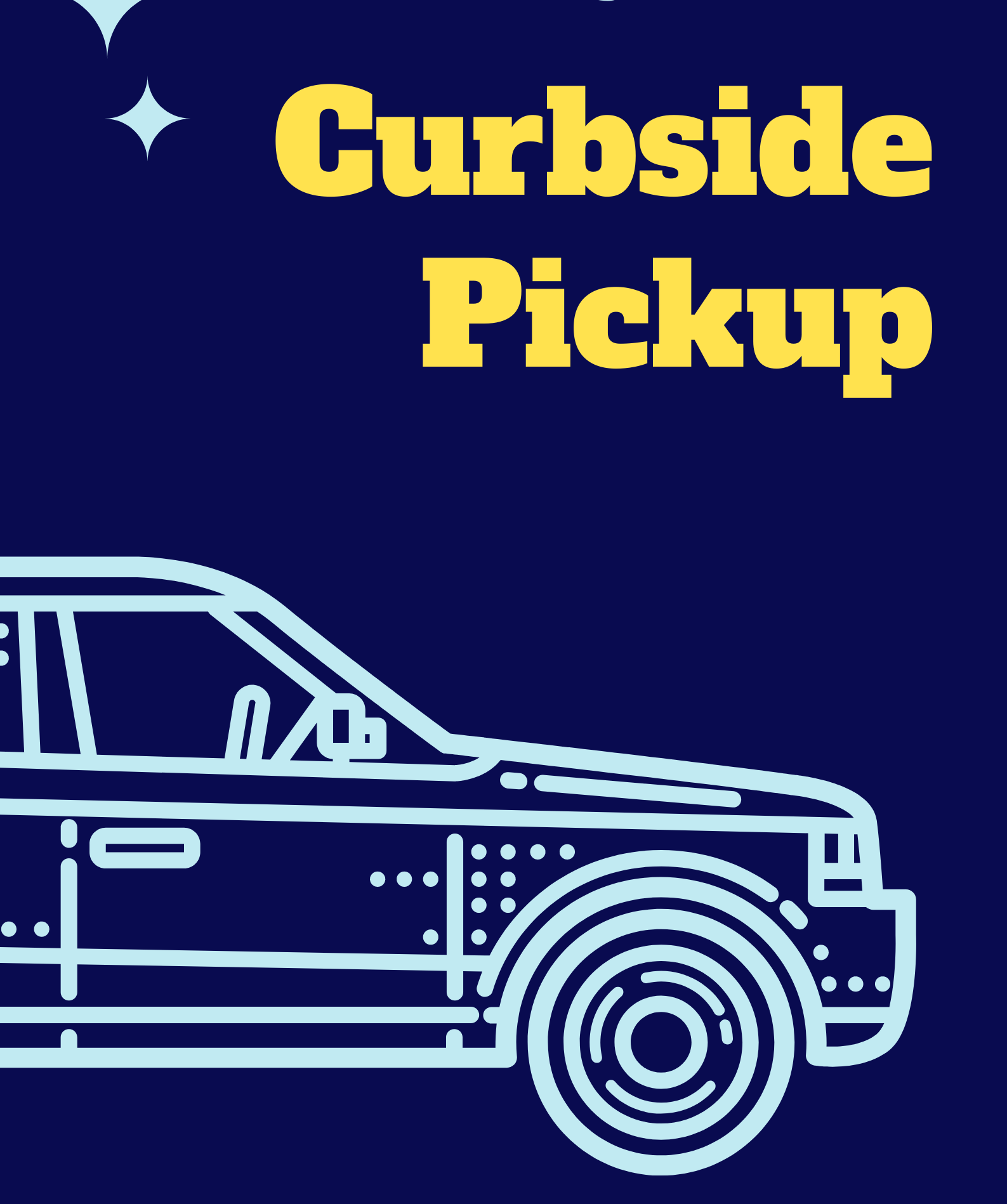 Outline of the front half of a car with the words curbside pickup