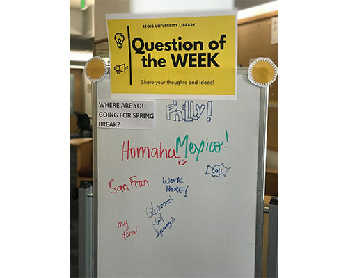 Question of the week board, with the question Where are you going for spring break?