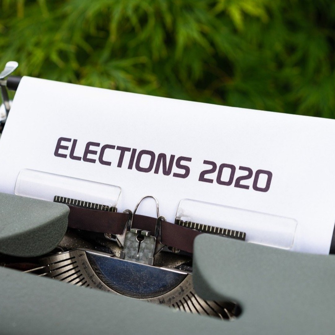 Typewriter with piece of paper sticking out reading Elections 2020.