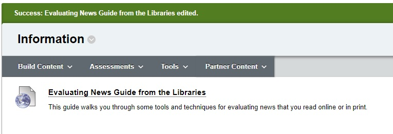 Screenshot of Blackboard link to LibGuides content selection
