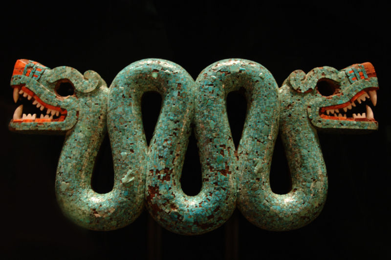 photo of two-headed turquoise serpent