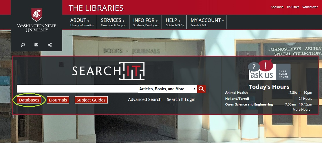 screenshot of Libraries' home page highlighting the link to databases