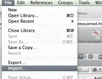 Importing into EndNote