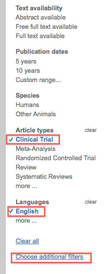Applying Limits in PubMed