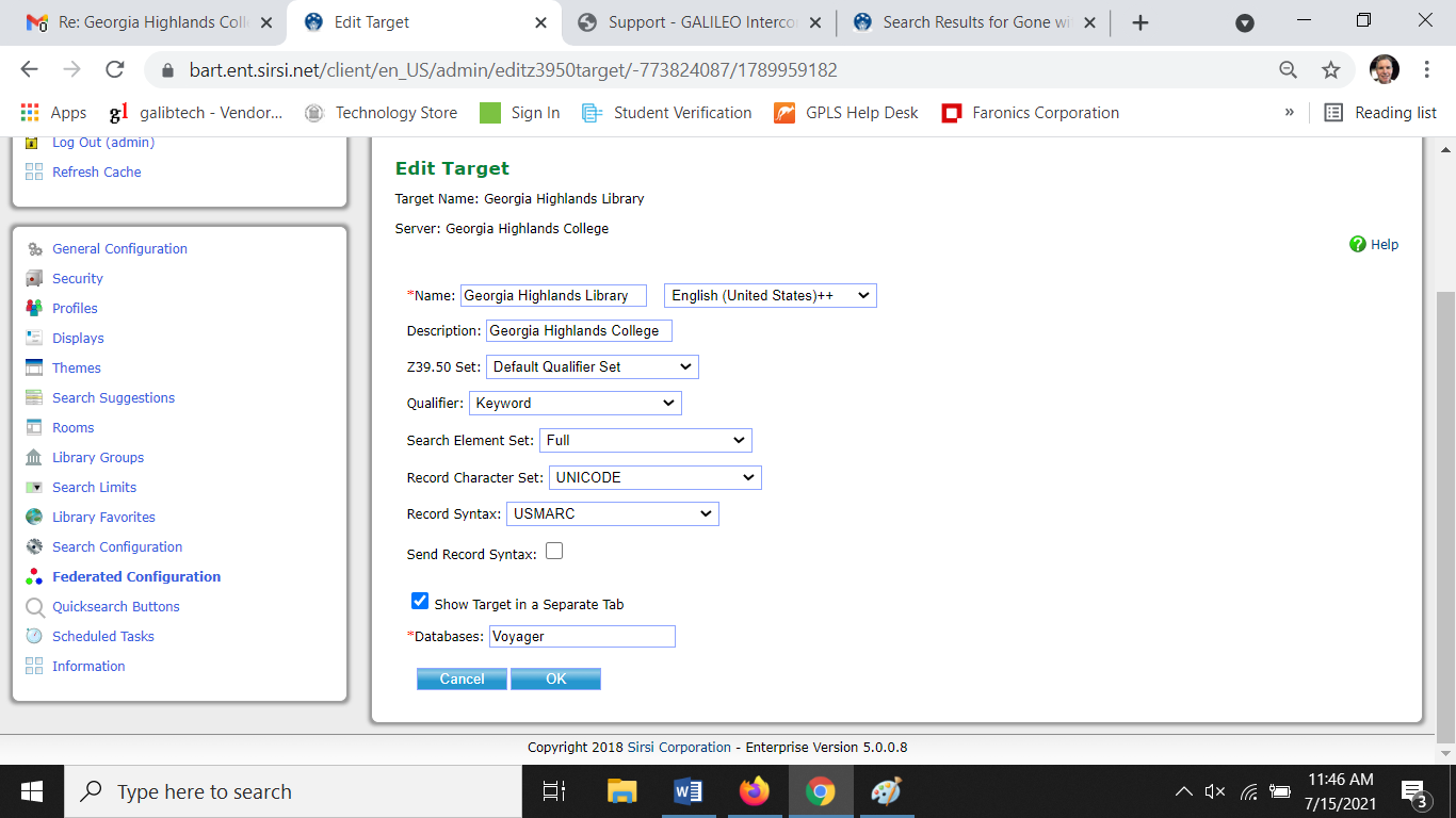 Screen Shot of Configuration