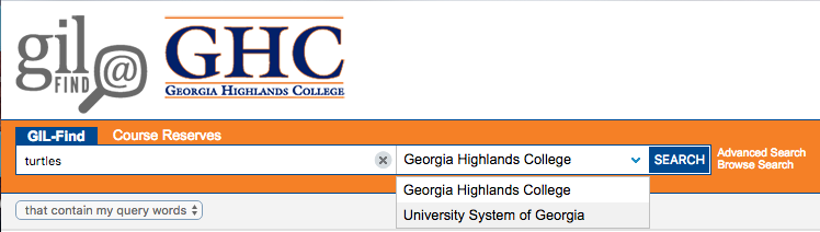 Gil-Find Search with Georgia Highlands College and University System of Georgia drop-down boxes displayed.