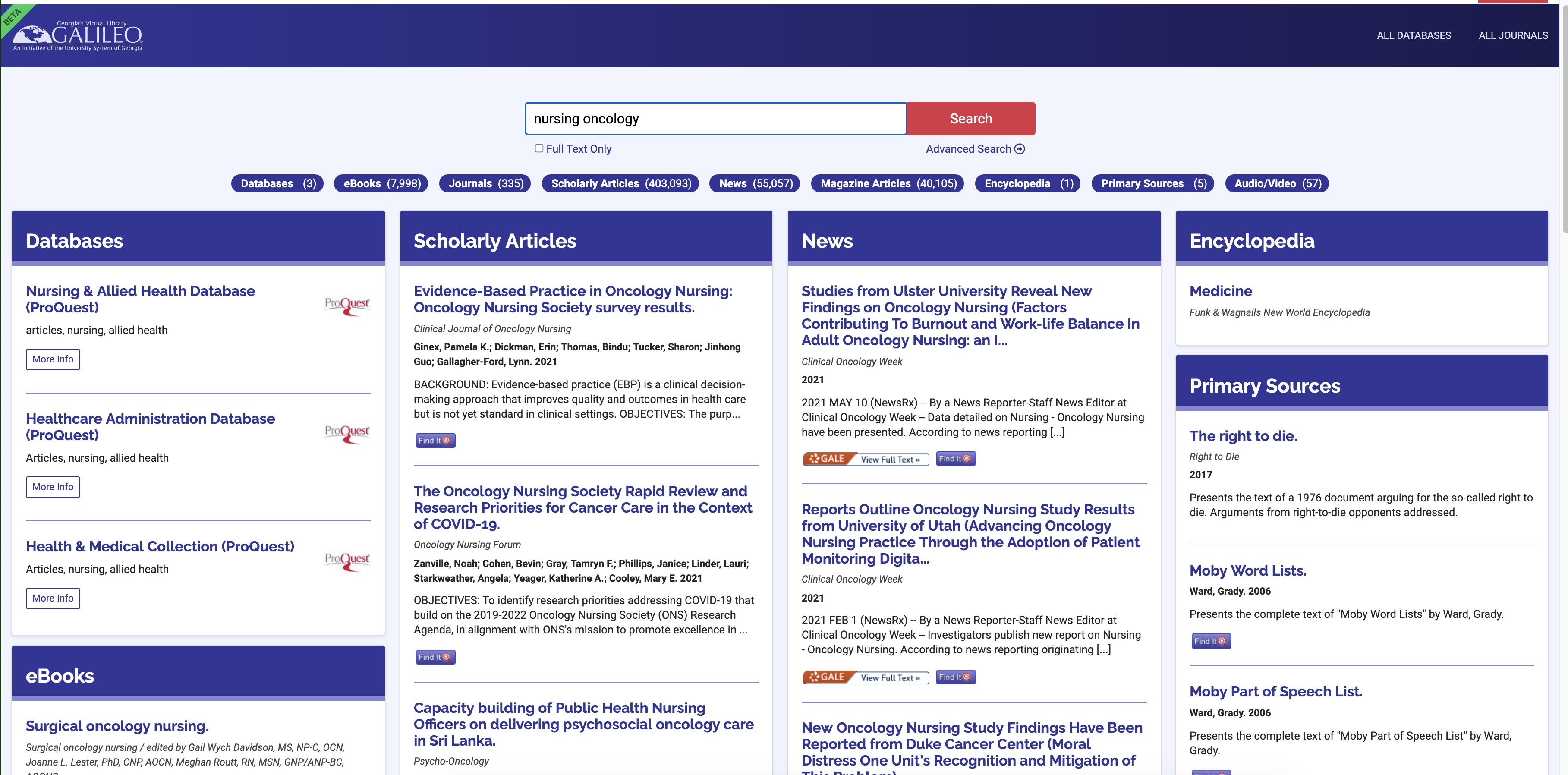 Screenshot of new GALILEO homepage