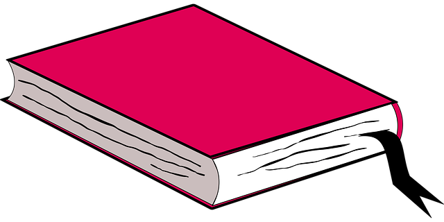 Clip art of a pink book.