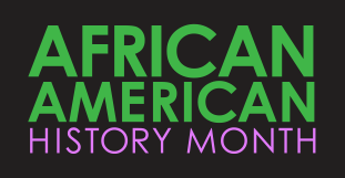 African American History Month in green and purple text on black background.